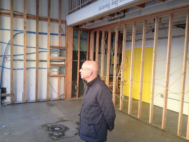 Brian Eno visits the future site of The Interval