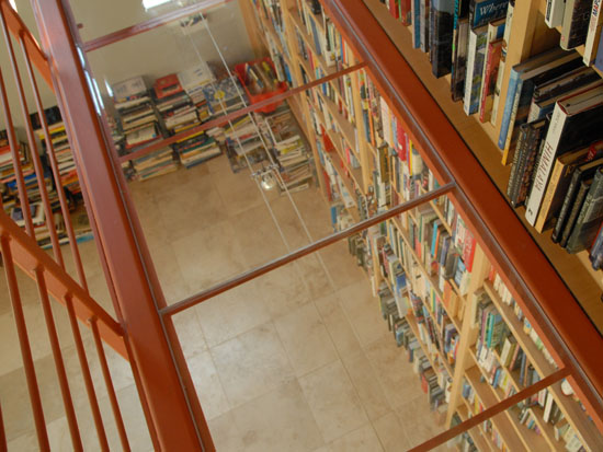 View from the second floor of Kevin Kelly's home library