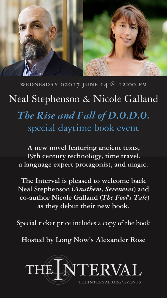June 14, 02017 at 12pm: Neal Stephenson & Nicole Galland at The Interval