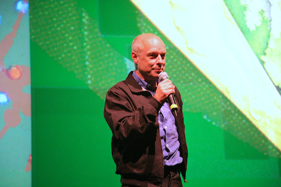 Long Now co-founder Brian Eno at his 77 Million Paintings opening in San Francisco, 02007; photo by Scott Beale