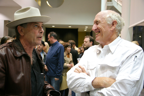 Burning Man co-founder Larry Harvey and Long Now co-founder Stewart Brand at 77 Million Paintings opening in San Francisco; photo by Scott Beale
